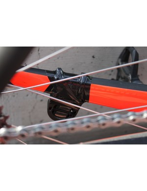 The timing chip is zip-tied to the chainstay then taped over
