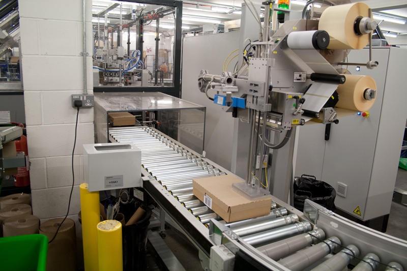 Chain Reaction's box lidding machine