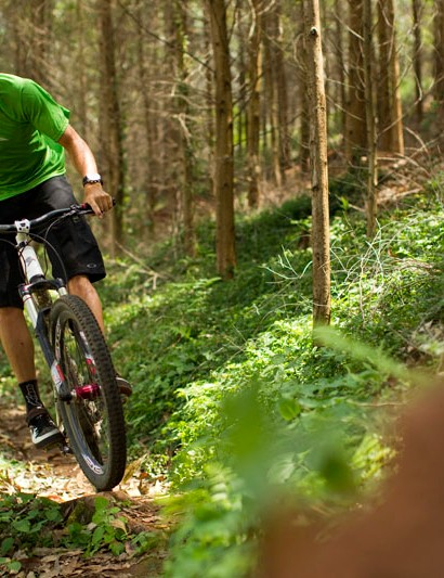 Riding smooth singletrack in the Ferncliff reserve,  Greg's local trail