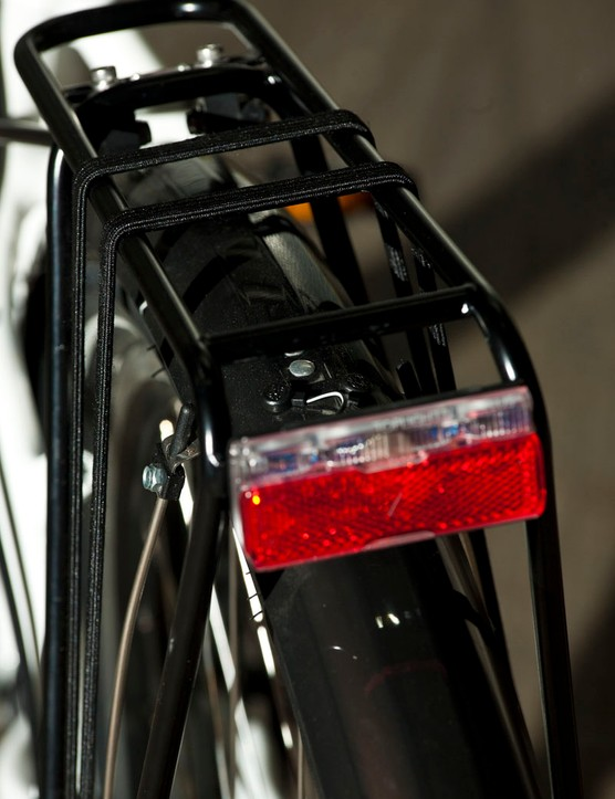 The Multitask comes fully equipped with dynamo lights, full mudguards and a rear rack
