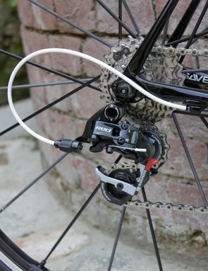 The launch bikes were outfitted with SRAM's Black Red group