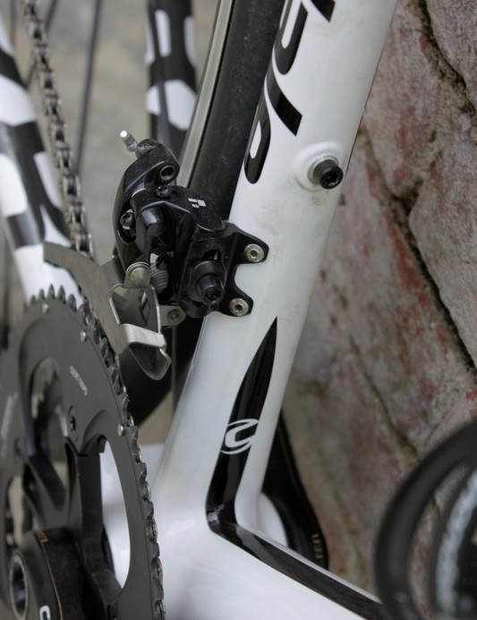 The front derailleur boss is bonded and riveted to the seat tube; it hold's SRAM's Black Red front derailleur with a titanium cage