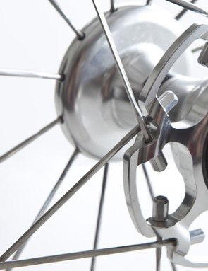 The flange-located spoke nut technology was purchased from Cane Creek