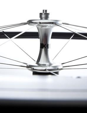 The aluminum front hub sports a sleek profile