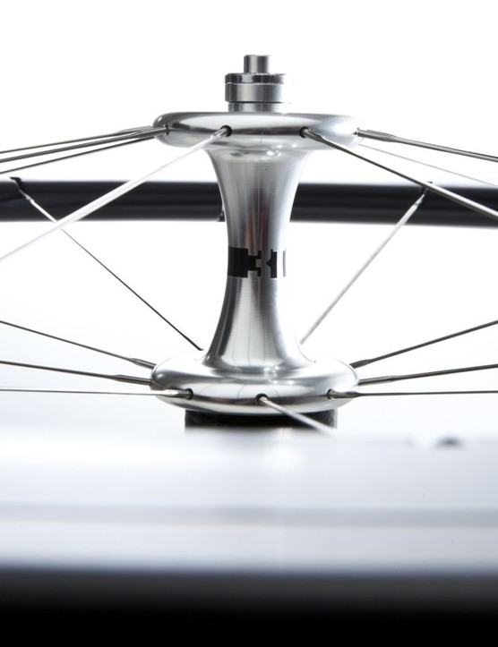 The aluminum front hub sports a sleek profile