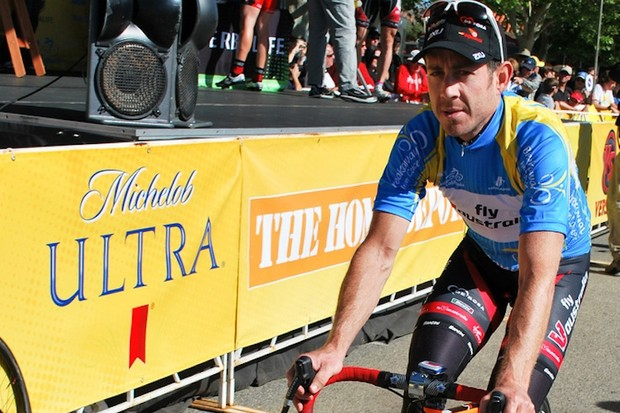 Ben Day wearing the Breakaway from Cancer Most Courageous Rider jersey, during the 2010 edition