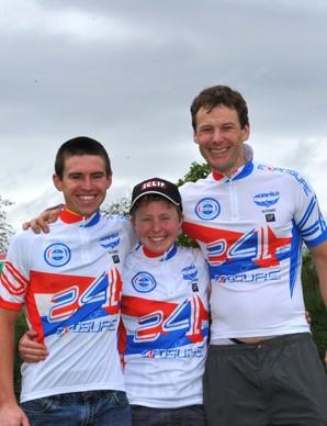 24hr winners Kate Potter (women), Matt Page (men) and Mark Spratt (vets)