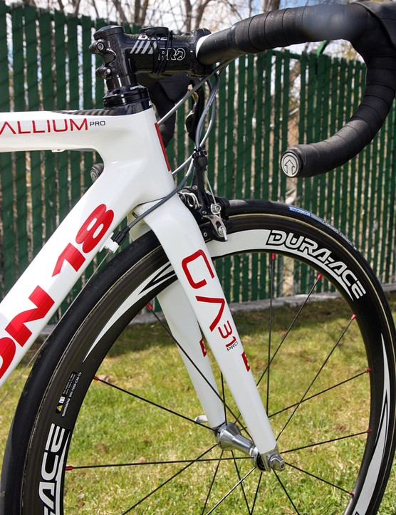 Argon 18's Gallium Pro carbon fork features a tapered steerer tube.