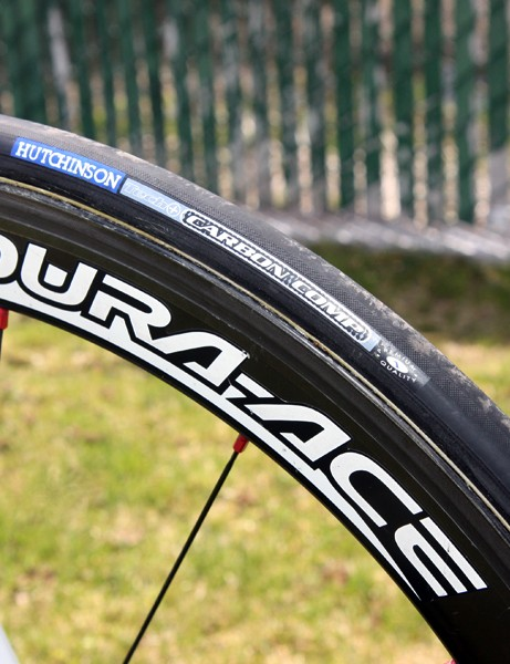Hutchinson Carbon Comp tubulars are glued on to 50mm-deep Shimano Dura-Ace carbon wheels.
