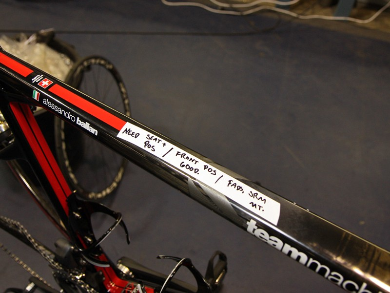 """BMC team mechanics use both a """"three-page spreadsheet"""" and a makeshift system of handwritten notes right on a rider's bike to denote when something needs to get done"""
