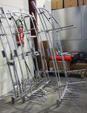 BMC head mechanic Ian Sherburne says these racks were being prepared to install on new team cars set to arrive soon