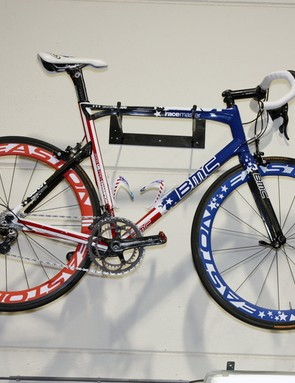 …and George Hincapie's US national championship bike on the other