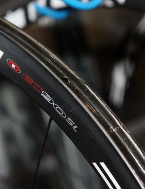 Carbon wheels are stored with a pre-applied single layer of glue to speed up the tire mounting process when they're really needed