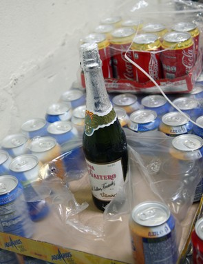 This bottle of champagne was tucked away with the rest of the team's various fizzy beverages