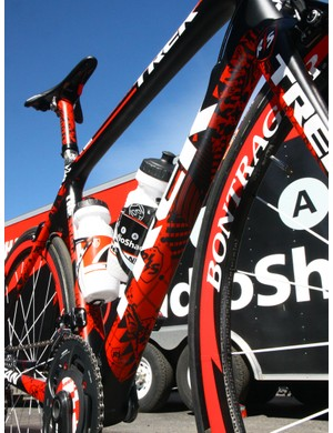 Trek team liaison Matt Shriver says each of Team Radioshack's special bikes were designed by renowned graphic artist Shepard Fairey but painted in-house.