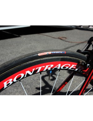 Challenge Forte tubular tires are glued on to Bontrager's prototype 50mm-deep wide-profile carbon wheels, which also get the custom graphics treatment.