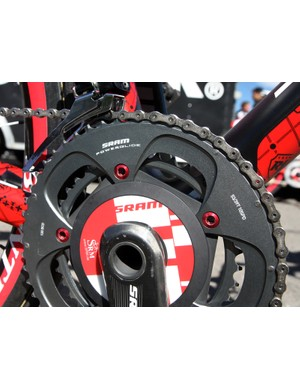 SRAM 53/39T Red chainrings are attached to the SRM spider with red-anodized aluminum chainring bolts.
