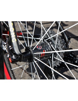 Bontrager's prototype 50mm-deep wide-profile carbon tubular wheels use carbon bodied hubs front and rear.