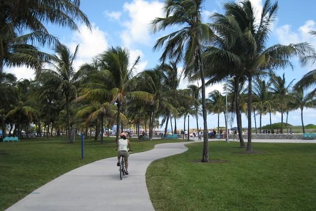 A South Beach Florida bike path