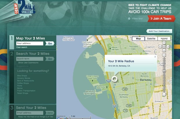 Clif Bar invites you to map your 2-mile riding radius on their 2 Mile Challenge website