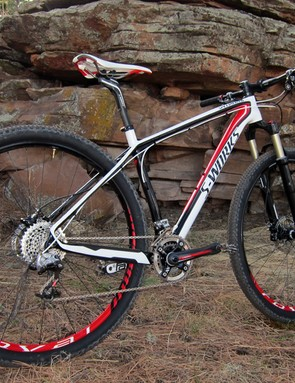 The Specialized S-Works Stumpjumper 29er carbon frame is very light and incredibly stiff but ride quality could definitely be improved