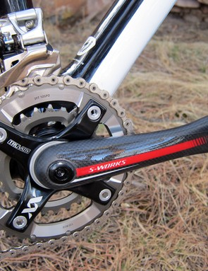 The Specialized S-Works carbon crank is remarkably rigid under power while the alloy spider provides excellent support for the SRAM XX chainrings