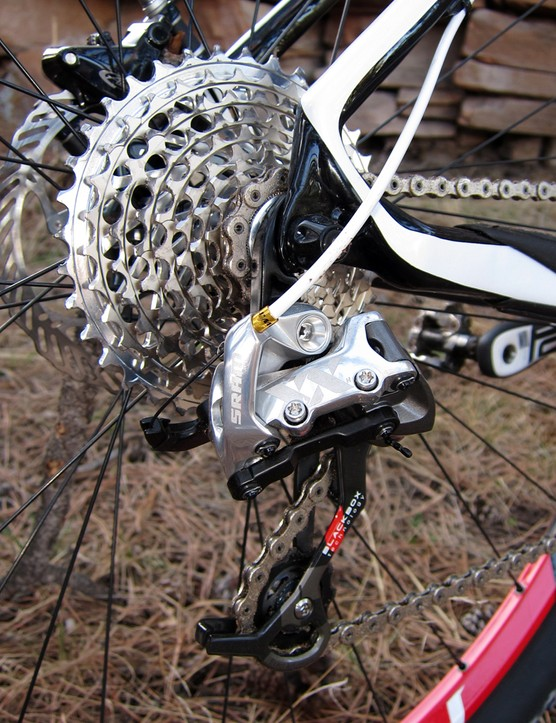 The top-end transmission includes a SRAM XX rear derailleur and cassette