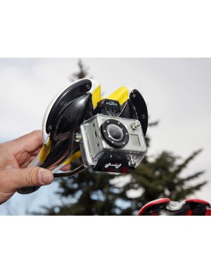 Dean Dealy of GoPro was busy fitting a number of team bikes with custom mounts for the company's tiny video cameras