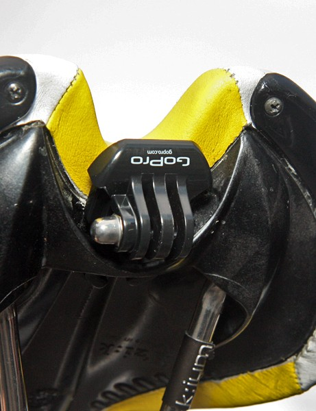 GoPro modified one of their mount designs to work with Fi'zi:k's saddle clip system so that the company could collect in-peloton video during the race