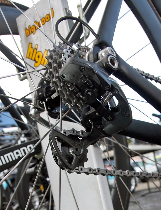 HTC-Highroad's Shimano Dura-Ace Di2 rear derailleurs looked stock from this angle…
