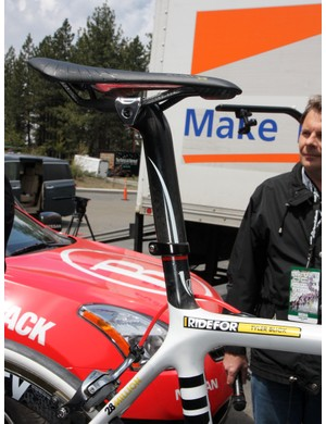 Oakley sports marketing man Steve Blick is using Calfee's new internal battery pack for an ultra-clean look on his one-off Trek Madone