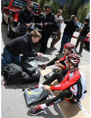 Oakley sports marketing man Steve Blick paid countless visits to sponsored teams and riders before the start of the Tour of California, making sure everyone had the frames and lenses they wanted