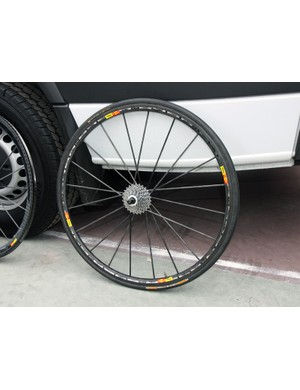Garmin-Cervélo's ultralight Mavic R-Sys Ultimate hub uses bonded carbon construction save for the driveside flange and axle internals. Unlike the standard R-Sys, tubular carbon fiber spokes are used on both the driveside and non-driveside