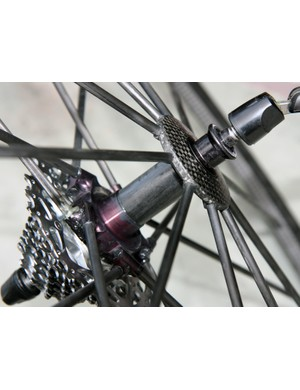 Claimed weight on the ultralight Mavic R-Sys Ultimate tubular carbon fiber rims is just 230g apiece
