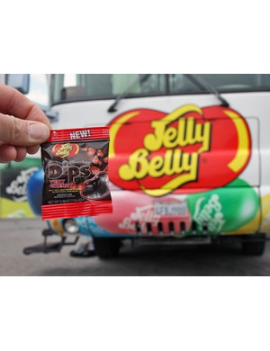 Jelly Belly used the Tour of California to show off their new Dips - chocolate covered gummy beans offered in five flavors