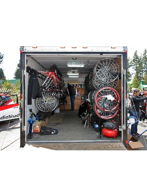 Many Europe-based teams had to make do with rented trucks and trailers for the Tour of California but Radioshack mechanics had the luxury of their own rig dedicated for US domestic campaigns