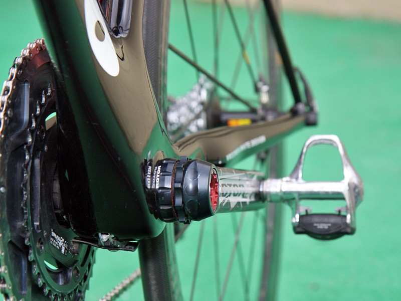The Cervelo S3 down tube stays narrow through most of its length but flares out at the bottom bracket