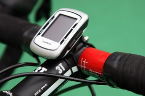 David Zabriskie (Garmin-Cervelo) has his Garmin Edge 500 computer mounted in a rather different manner than usual