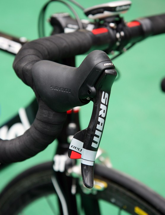 Team-issue SRAM Red DoubleTap levers feature a bigger logo than aftermarket versions to make them stand out more in finish line photos
