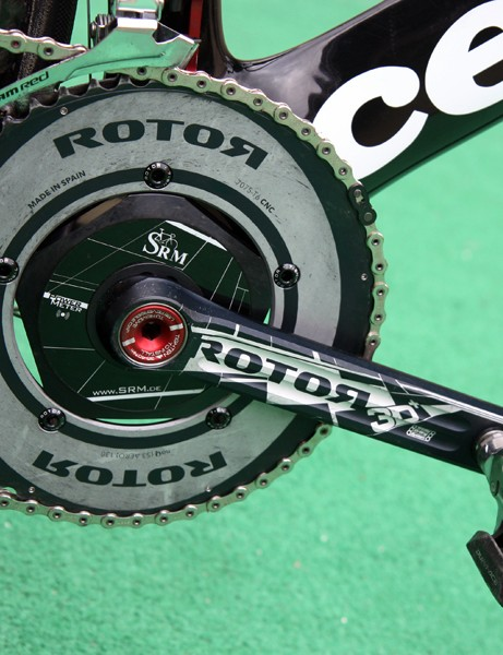 David Zabriskie (Garmin-Cervelo) is using a Rotor 3D+ crank with an SRM power measuring spider and Rotor's solid, round outer chainring