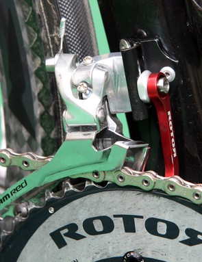 The SRAM Red front derailleur (with pro-option steel cage) is backed up with a Rotor chain catcher