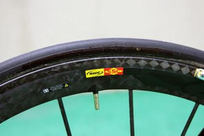 Tubulars with blacked-out logos are mounted on Mavic Cosmic Carbone Ultimate wheels