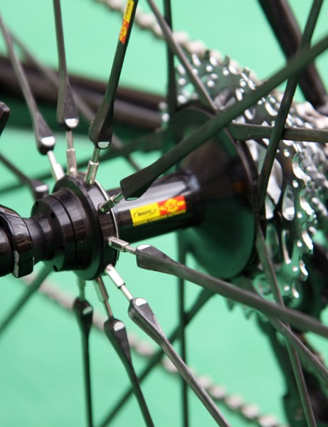 The Mavic Cosmic Carbone Ultimate's aluminum rear hub allows mechanics to true the wheel if needed