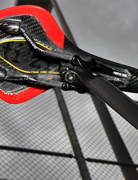 David Zabriskie's (Garmin-Cervelo) Fi'zi:k Antares saddle is built with braided carbon fiber rails and a carbon fiber shell