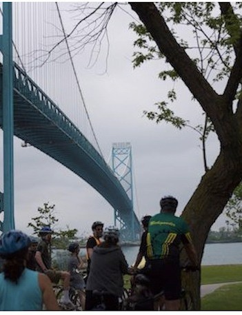 The Ambassador Bridge, which serves as the fixture of Bike the Bridge 2011