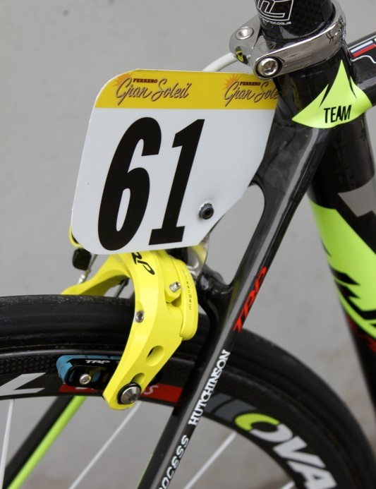 Geox use TRP brakes and homemade, brake boss mounted number hangers on their bikes