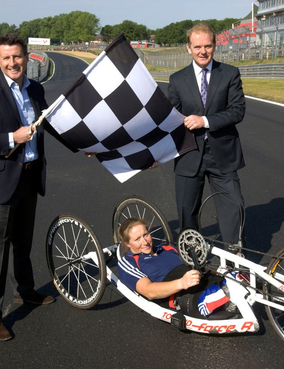 Chairman of LOCOG Sebastian Coe, Paralympic gold medalist Rachel Morris and chief executive of MotorSport Vision Jonathan Palmer unveil Brands Hatch as the venue for the Paralympic Games cycling events