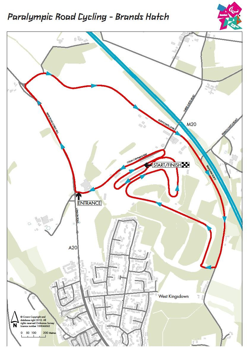 The Paralympic road cycling route map
