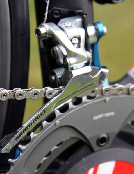 A team-option steel cage on the SRAM Red front derailleur yields sharper shifts than the lighter but more flexible titanium one.