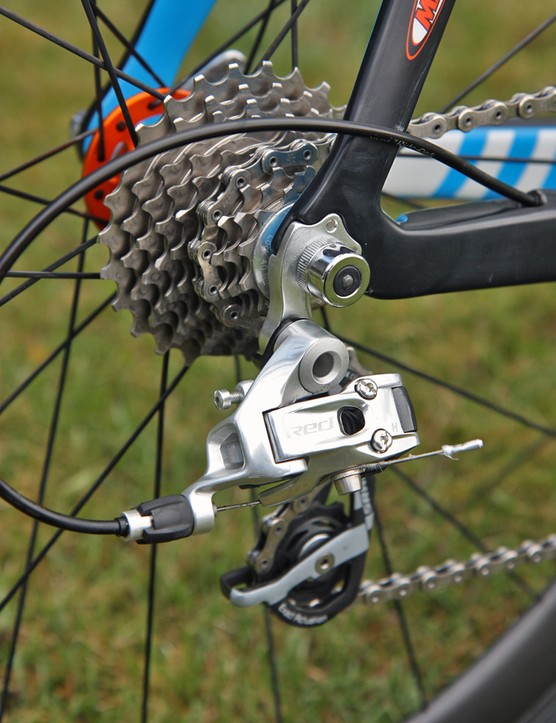 The SRAM Red rear derailleur is paired to SRAM's trick PowerDome OG-1090 cassette.